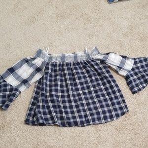 Loft size M women's Blue and Beige Plaid shirt